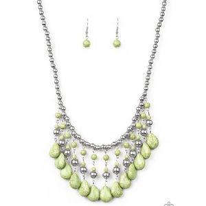 Green Stone Fringe Necklace & Earrings in Silver